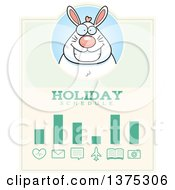 Clipart Of A Happy Chubby White Easter Bunny Schedule Design Royalty Free Vector Illustration