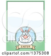 Clipart Of A Happy Chubby White Easter Bunny Page Border Royalty Free Vector Illustration by Cory Thoman