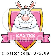 Clipart Of A Happy Chubby White Easter Bunny Shield Royalty Free Vector Illustration by Cory Thoman