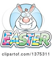 Clipart Of A Happy Chubby White Easter Bunny Royalty Free Vector Illustration