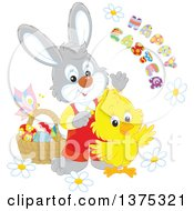 Poster, Art Print Of Cute Yellow Chick And Bunny Rabbit With A Basket Of Eggs Flowers And A Butterfly With A Happy Easter Greeting