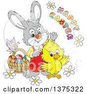 Clipart Of A Cute Yellow Chick And Rabbit With A Basket Of Eggs Flowers And A Butterfly With A Happy Easter Greeting Royalty Free Vector Illustration by Alex Bannykh