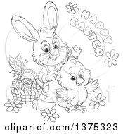 Clipart Of A Black And White Cute Chick And Rabbit With A Basket Of Eggs Flowers And A Butterfly With A Happy Easter Greeting Royalty Free Vector Illustration