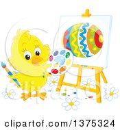 Clipart Of A Yellow Easter Chick Painting An Egg On A Canvas Royalty Free Vector Illustration