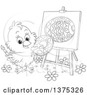Clipart Of A Black And White Cute Easter Chick Painting An Egg On A Canvas Royalty Free Vector Illustration