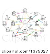 Clipart Of A Social Network Of Connected Stick People With Different Careers And One Man In The Center Royalty Free Vector Illustration