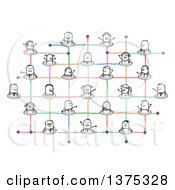 Social Network Of Connected Stick People With Colorful Lines