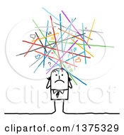 Clipart Of A Stressed Stick Business Man Under Messy Social Networking Lines And Icons Royalty Free Vector Illustration