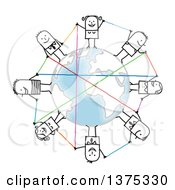 Clipart Of A Circle Of Connected Stick Men And Women Around Earth Royalty Free Vector Illustration