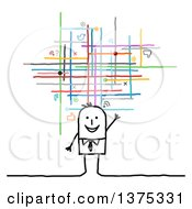 Clipart Of A Happy Stick Business Man Waving Under Social Networking Lines And Icons Royalty Free Vector Illustration