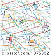 Seamless Background Pattern Of Stick Men And Colorful Lines
