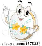 Clipart Of A Happy Embroidery Hoop Character Holding A Needle Royalty Free Vector Illustration