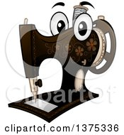 Clipart Of A Vintage Sewing Machine Mascot Royalty Free Vector Illustration