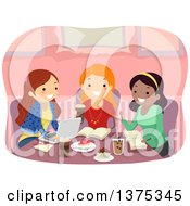 Clipart Of A Group Of Happy Teenage Girls Studying At A Cafe Royalty Free Vector Illustration