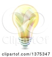 Clipart Of A Yellow Light Bulb With A Book On The Inside Royalty Free Vector Illustration
