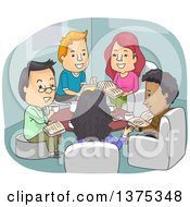 Clipart Of Happy Adults Discussing Books At A Club Meeting Royalty Free Vector Illustration