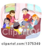 Clipart Of A Group Of Teenagers Discussing A Book Over A Meal Royalty Free Vector Illustration
