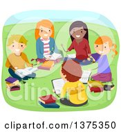 Clipart Of A Group Of Teenagers Reading In A Park Royalty Free Vector Illustration