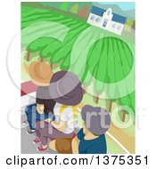 Clipart Of Tourists In A Vineyard Royalty Free Vector Illustration