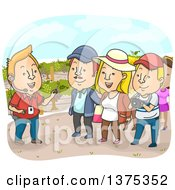 Clipart Of A Tour Guide And Tourists In A Vineyard Royalty Free Vector Illustration