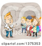 Clipart Of A Tour Guide And Tourists In The Catacombs Royalty Free Vector Illustration by BNP Design Studio