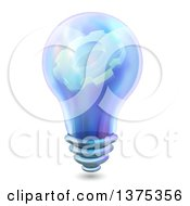 Clipart Of A Blue Light Bulb With A Gear Cog On The Inside Royalty Free Vector Illustration
