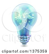 Clipart Of A Light Bulb With A Medical Caduceus On The Inside Royalty Free Vector Illustration by BNP Design Studio