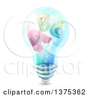 Clipart Of A Lightbulb With Alphabet Letters On The Inside Royalty Free Vector Illustration by BNP Design Studio
