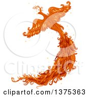 Clipart Of A Flying Phoenix Firebird With A Long Tail Royalty Free Vector Illustration