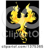 Clipart Of A Firey Phoenix Bird On Black Royalty Free Vector Illustration by BNP Design Studio
