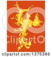 Clipart Of A Firey Phoenix Bird On Orange Royalty Free Vector Illustration