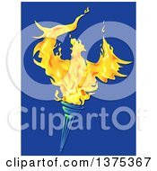 Clipart Of A Fiery Phoenix Bird Rising From A Torch On Blue Royalty Free Vector Illustration