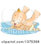 Clipart Of A Red Haired White Baby Boy Playing In Water During A Swimming Lesson Royalty Free Vector Illustration by BNP Design Studio