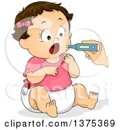 Poster, Art Print Of Brunette White Baby Girl Opening Her Mouth For A Thermometer