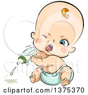 Red Haired White Baby Boy Angrily Throwing A Milk Bottle