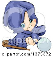 Clipart Of A White Baby Boy In A Wizard Clock Sitting With A Staff And Crystal Ball Royalty Free Vector Illustration