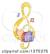 Poster, Art Print Of Brunette White Baby Girl Sleeping On A Music Note