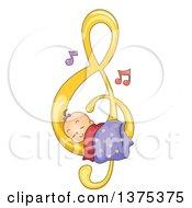 Poster, Art Print Of Brunette White Baby Girl Sleeping On A Music Note