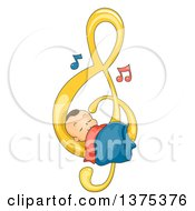 Clipart Of A Brunette White Baby Boy Sleeping On A Music Note Royalty Free Vector Illustration