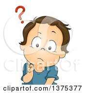 Poster, Art Print Of Confused Brunette White Baby Boy With A Question Mark Over His Head