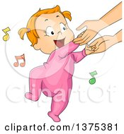 Red Haired White Baby Girl Holding His Mothers Hands And Dancing