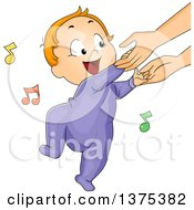 Clipart Of A Red Haired White Baby Boy Holding His Mothers Hands And Dancing Royalty Free Vector Illustration by BNP Design Studio