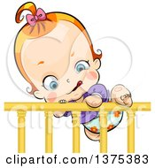 Clipart Of A Red Haired White Baby Girl Climbing Out Of A Crib Royalty Free Vector Illustration
