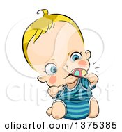 Clipart Of A Blond White Baby Chewing On A Toy Royalty Free Vector Illustration by BNP Design Studio
