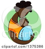 Clipart Of A Sketched African Mother Kissing And Holding Her Newborn Baby Over A Green Circle Royalty Free Vector Illustration