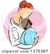 Clipart Of A Sketched Red Haired White Female Pediatric Doctor Holding A Black Newborn Baby In Her Arms Over A Pink Circle Royalty Free Vector Illustration by BNP Design Studio