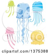 Clipart Of Colorful Jellyfish Royalty Free Vector Illustration by BNP Design Studio