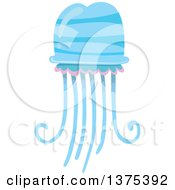 Clipart Of A Blue And Pink Jellyfish Royalty Free Vector Illustration by BNP Design Studio