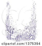 Clipart Of A Sketched Reef Border Royalty Free Vector Illustration