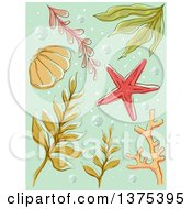 Clipart Of Seaweed And A Starfish On Green With Bubbles Royalty Free Vector Illustration by BNP Design Studio